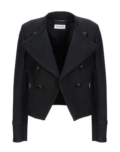 SAINT LAURENT | Женский черный пиджак SAINT LAURENT контрастные аппликации | Clouty
