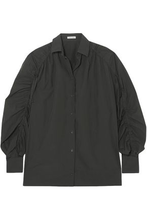 Tomas Maier | Tomas Maier Woman Gathered Cotton-poplin Shirt Army Green | Clouty