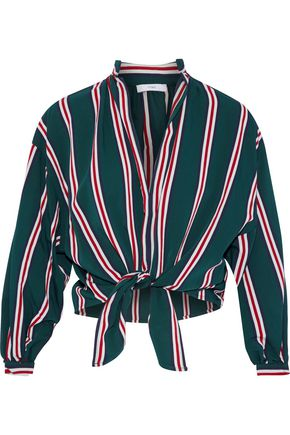 Tome   Tome Woman Tie-front Striped Twill Blouse Dark Green   Clouty