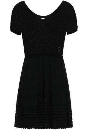 VALENTINO RED   Redvalentino Woman Crochet-knit Cotton Mini Dress Black   Clouty