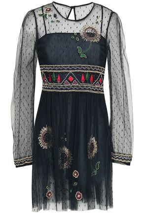 VALENTINO RED | Redvalentino Woman Embellished Point D'esprit Mini Dress Midnight Blue | Clouty