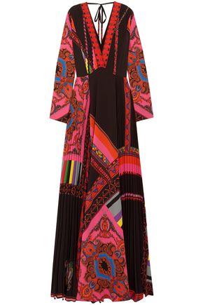 Etro | Etro Woman Wrap-effect Pleated Printed Crepe De Chine Maxi Dress Black | Clouty