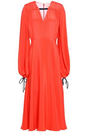Roksanda | Roksanda Woman Gathered Silk Crepe De Chine Midi Dress Coral | Clouty
