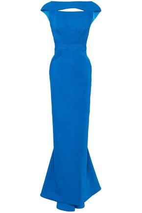 Zac Posen | Zac Posen Woman Open-back Fluted Crepe Gown Bright Blue | Clouty