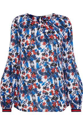 Milly | Milly Woman Mandy Floral-print Silk Crepe De Chine Blouse Blue | Clouty