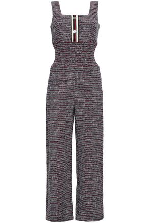 Maje | Maje Woman Cotton-blend Tweed Jumpsuit Red | Clouty