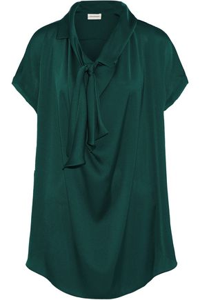 By Malene Birger   By Malene Birger Woman Pussy-bow Chiffon-trimmed Crepe De Chine Blouse Emerald   Clouty