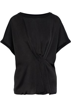By Malene Birger | By Malene Birger Woman Linaramma Pleated Satin-crepe Top Black | Clouty