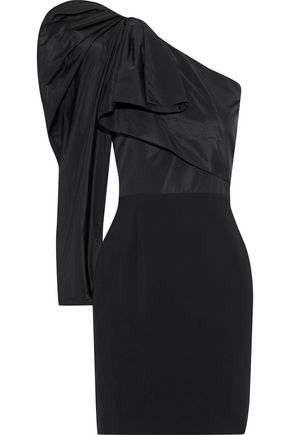 Stella McCartney | Stella Mccartney Woman One-shoulder Duchesse-satin And Cady Mini Dress Black | Clouty