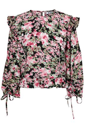 W118 By Walter Baker   W118 By Walter Baker Woman Cropped Floral-print Crepe Top Black   Clouty
