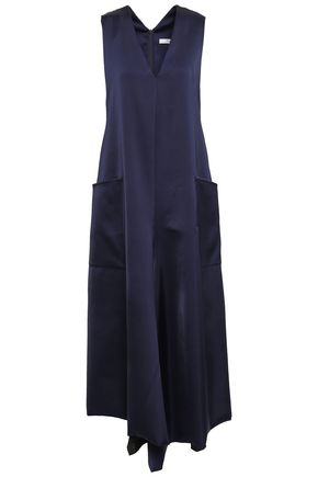 TIBI | Tibi Woman Asymmetric Satin-crepe Midi Dress Midnight Blue | Clouty