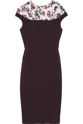 Lela Rose | Lela Rose Woman Embroidered Tulle-paneled Cady Dress Dark Purple | Clouty
