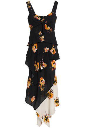 A.L.C.   A.l.c. Woman Asymmetric Floral-print Silk-crepe Midi Dress Midnight Blue   Clouty