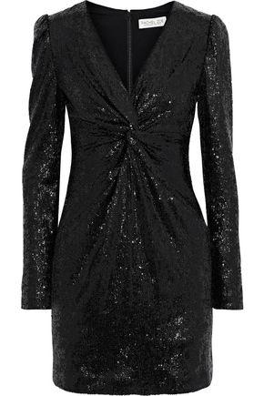 Rachel Zoe | Rachel Zoe Woman Lou Twisted Sequined Stretch-knit Mini Dress Black | Clouty