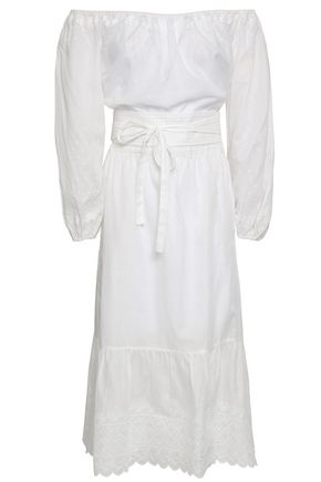 Vanessa Bruno | Vanessa Bruno Woman Off-the-shoulder Broderie Anglaise Cotton Dress White | Clouty
