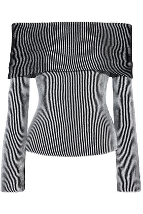 Roland Mouret | Roland Mouret Woman Finney Off-the-shoulder Striped Ribbed-knit Top Black | Clouty