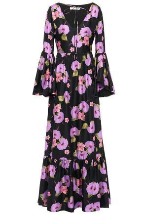 Borgo De Nor   Borgo De Nor Woman Florencia Floral-print Silk-satin Twill Maxi Dress Black   Clouty
