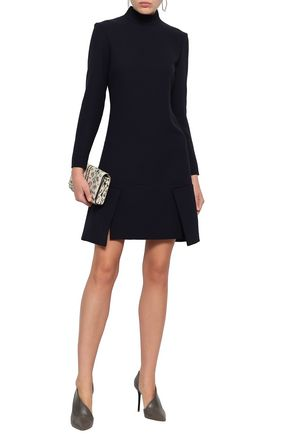 Victoria By Victoria Beckham   Victoria, Victoria Beckham Woman Flared Crepe Mini Dress Midnight Blue   Clouty