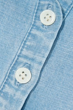 Frame | Frame Woman Shirred Tencel And Linen-blend Chambray Top Light Blue | Clouty
