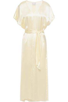 Forte Forte | Forte_forte Woman Belted Satin Midi Dress Ivory | Clouty