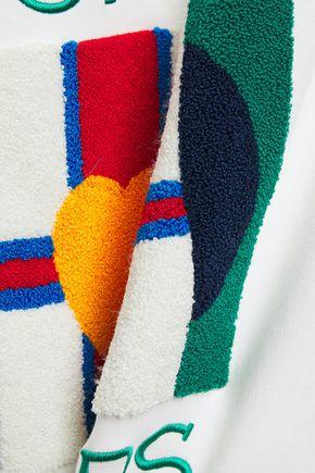 Sandro | Sandro Woman Appliqued Printed Cotton-blend Fleece Hoodie White | Clouty