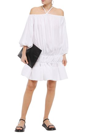 MARQUES'ALMEIDA | Marques' Almeida Woman Off-the-shoulder Gathered Tencel-mousseline Mini Dress White | Clouty