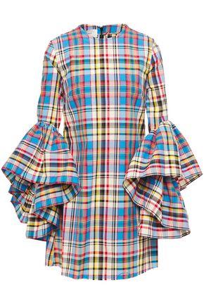 MARQUES'ALMEIDA | Marques' Almeida Woman Ruffle-trimmed Checked Jacquard Mini Dress Blue | Clouty