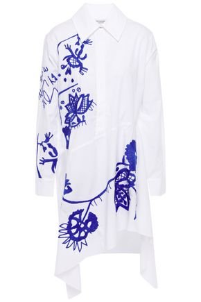 MARQUES'ALMEIDA | Marques' Almeida Woman Asymmetric Embroidered Cotton-poplin Mini Shirt Dress White | Clouty