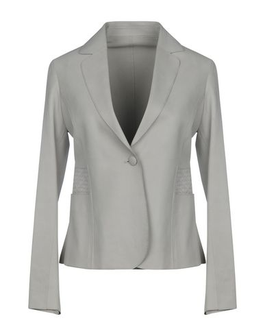Armani Collezioni | Женский серый пиджак ARMANI COLLEZIONI кожа | Clouty