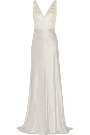 Catherine Deane   Catherine Deane Woman Olivia Embroidered Satin Gown Silver   Clouty