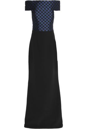 Safiyaa | Safiyaa Woman Off-the-shoulder Jacquard And Silk-blend Gown Black | Clouty