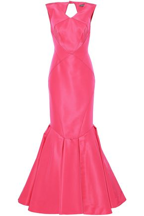 Zac Posen | Zac Posen Woman Cutout Flared Silk-faille Gown Pink | Clouty