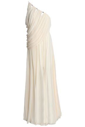 Halston Heritage | Halston Heritage Woman One-shoulder Draped Crepe De Chine Gown Cream | Clouty