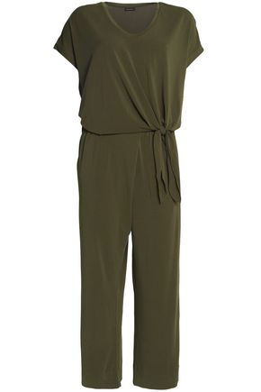 By Malene Birger | By Malene Birger Woman Cropped Knotted Crepe Jumpsuit Army Green | Clouty