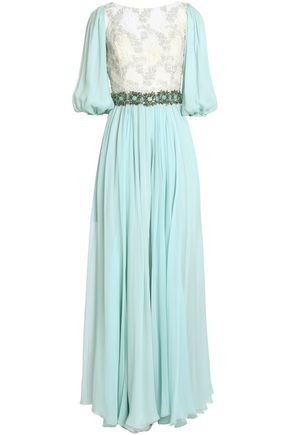 Dolce & Gabbana | Dolce & Gabbana Woman Lace-paneled Crystal-embellished Silk-blend Georgette Gown Mint | Clouty