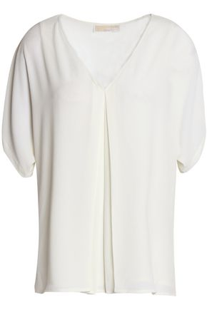 Michael Michael Kors | Michael Michael Kors Woman Cutout Pleated Crepe Blouse Ivory | Clouty