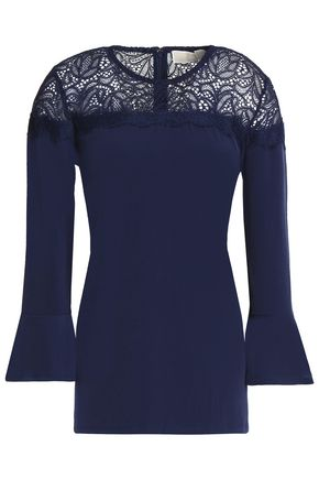 Michael Michael Kors | Michael Michael Kors Woman Lace-paneled Fluted Jersey Top Navy Size | Clouty