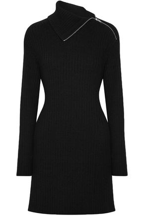 Proenza Schouler | Proenza Schouler Woman Cutout Ribbed Wool-blend Mini Dress Black | Clouty