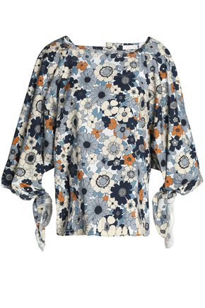 Chloé | Chloe Woman Floral-print Cotton Top Light Blue | Clouty