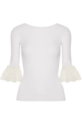 Oscar De La Renta | Oscar De La Renta Woman Lace-trimmed Ribbed Merino Wool Top Ivory | Clouty