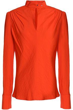 Maje | Maje Woman Cutout Gathered Twill Blouse Bright Orange Size 2 | Clouty