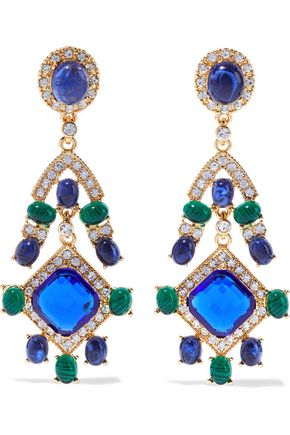 Kenneth Jay Lane | Kenneth Jay Lane Woman Gold-tone, Stone And Crystal Clip Earrings Multicolor | Clouty