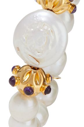 Bounkit | Bounkit Woman 14-karat Gold-plated, Pearl And Amethyst Bracelet | Clouty