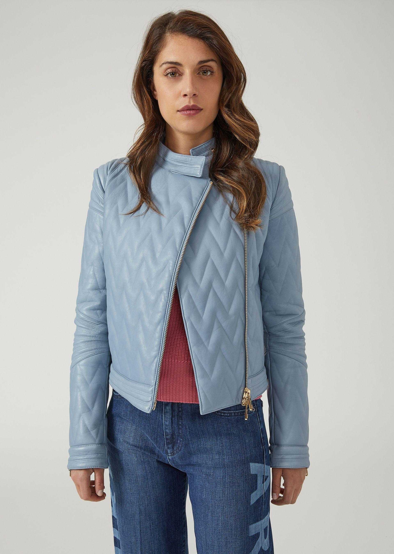 Emporio Armani | Байкерская куртка из стёганой кожи | Clouty