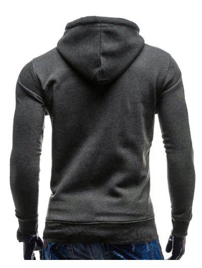 Zaful | DEEP GRAY Trendy Hooded Double Breasted Pocket Hemming Slimming Long Sleeve Cotton Blend Hoodie For Men | Clouty
