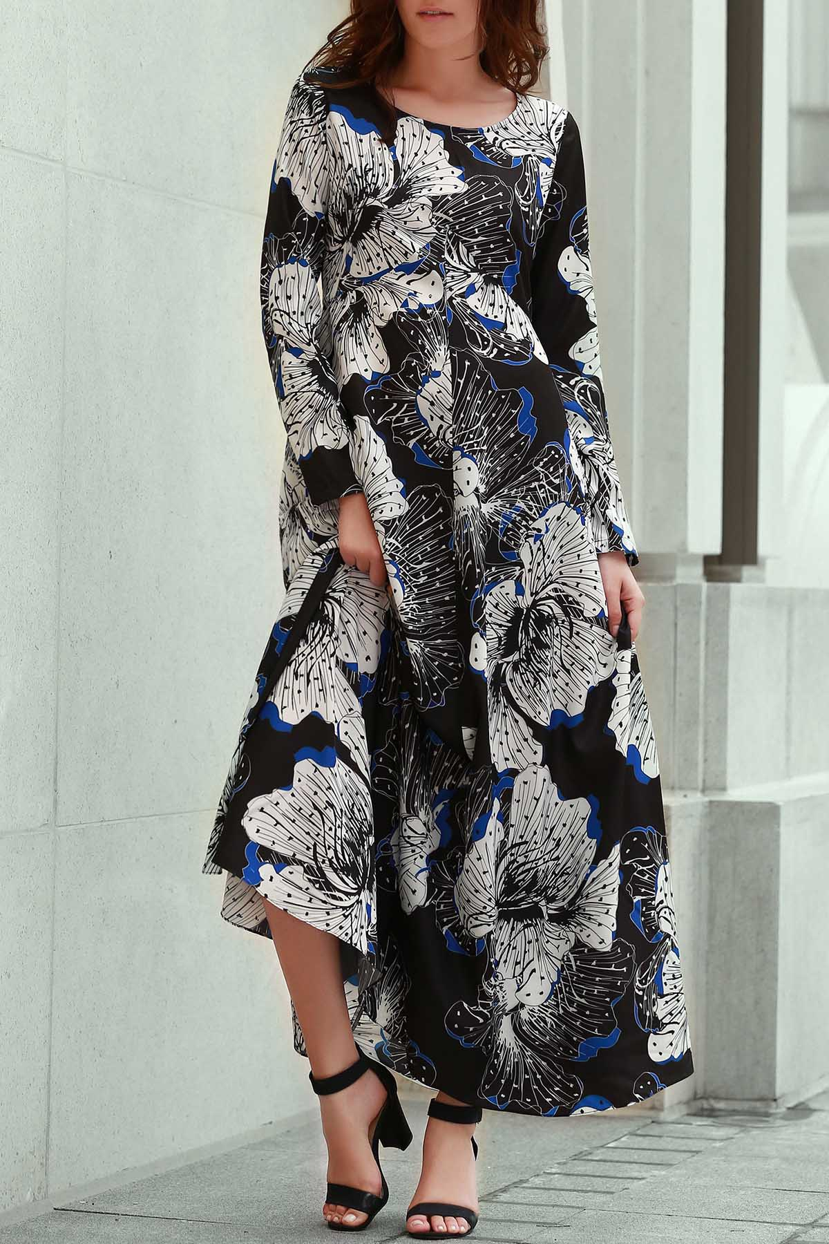 Zaful   BLACK Long Sleeve Large Floral Prom Dress   Clouty