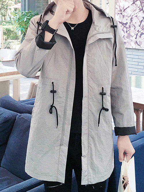 Zaful | GRAY Hooded Solid Color Lengthen Drawstring Design Long Sleeve Coat For Men | Clouty