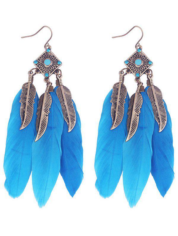 Zaful   BLUE Geometric Alloy Leaf Feather Drop Earrings   Clouty