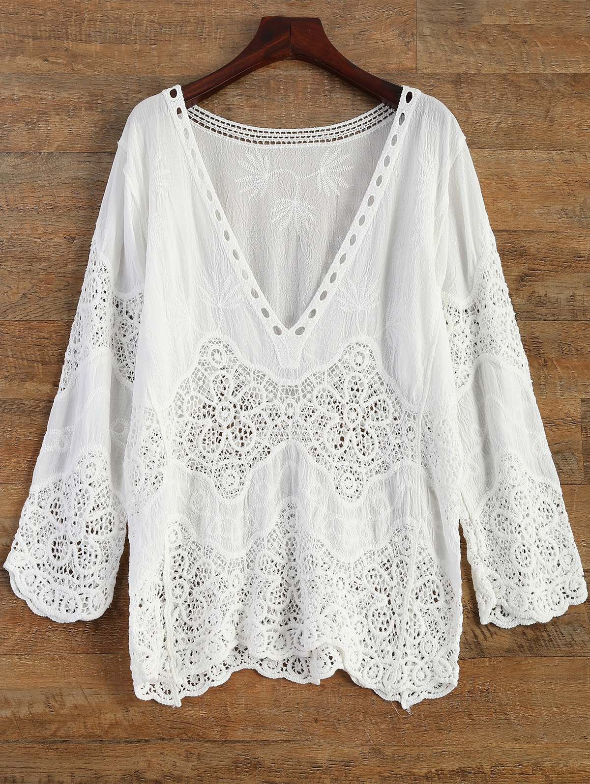 Zaful | WHITE Crochet Plunge Beach Cover-Up Dress | Clouty