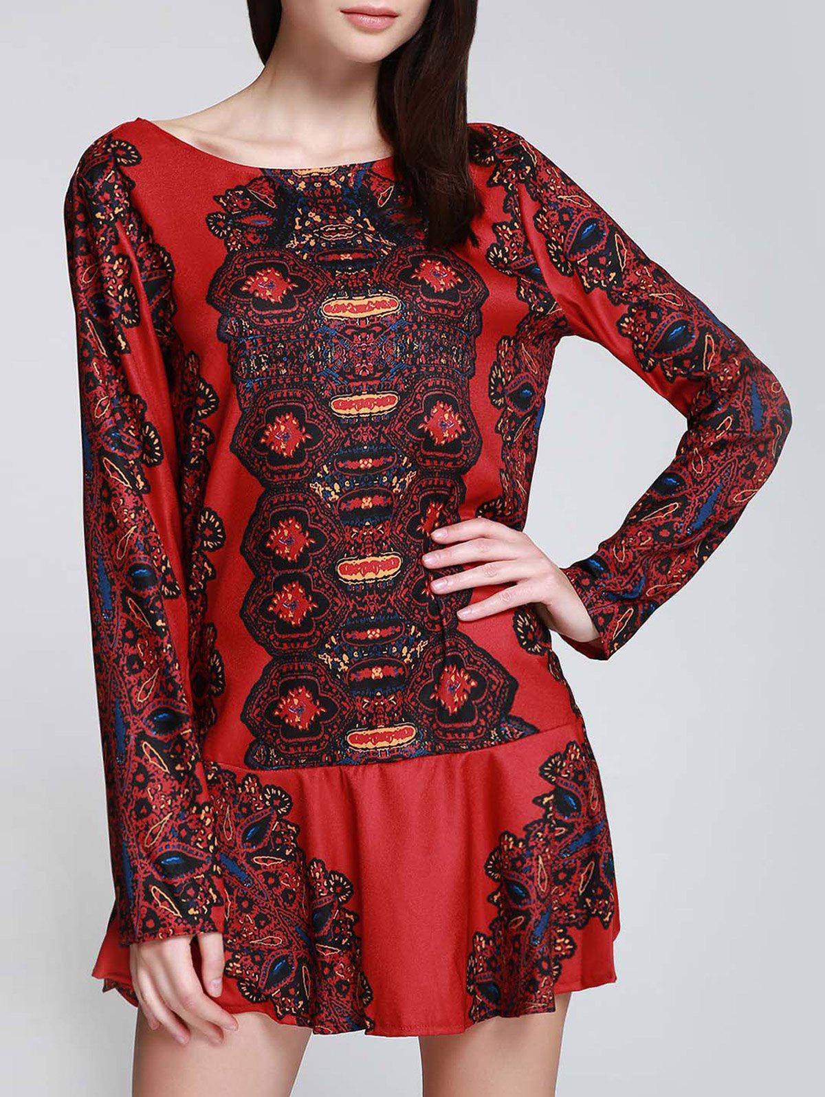 Zaful | RED Long Sleeve Printed Tunic Dress | Clouty